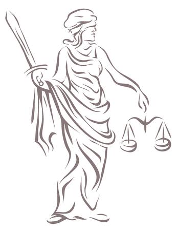 Femida met met een zwaard en schalen Vector illustratie. Stock Illustratie
