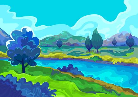 Landschap, Vector illustratie