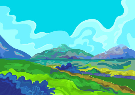 Landscape, Vector illustration Çizim