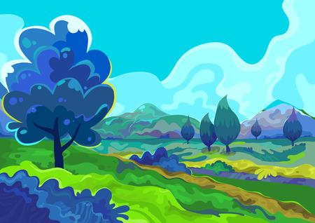 Landschapsillustratie. Stock Illustratie