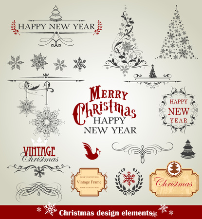 Set of christmas design elements illustration.