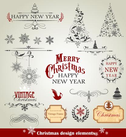 Set van Kerstmis ontwerp elementen illustratie. Stock Illustratie