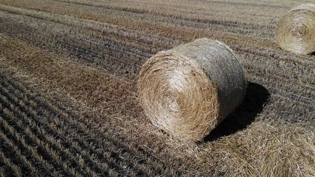 Nice aerial view of haystack on the field. Close up view on haystack