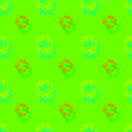 Seamless background pattern with colored diverse doodles.