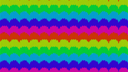 Background with a knitted texture, imitation of wool. Multicolored diverse lines. Stockfoto
