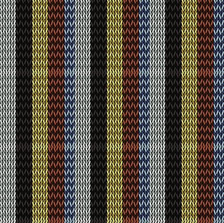 Seamless background pattern. Knitted multicolored texture. Geometry, lines, patterns. Ilustracja