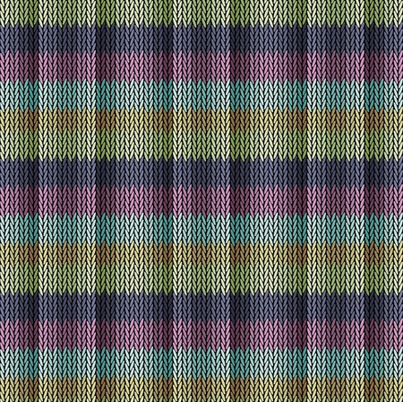 Seamless background pattern. Knitted multicolored texture. Geometry, lines, patterns.  イラスト・ベクター素材