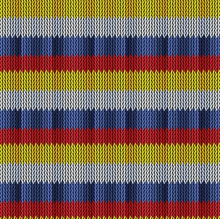 Seamless background pattern. Knitted multicolored texture. Geometry, lines, patterns. Stock Illustratie