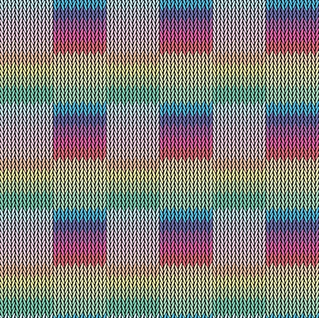 Seamless background pattern. Knitted multicolored texture. Illustration