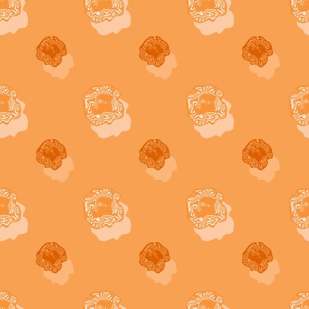 Seamless background pattern with a variety of colored floral motifs.