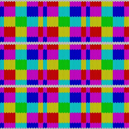 Seamless background with a knitted texture, imitation of wool. Multicolored diverse squares. 写真素材 - 130018735