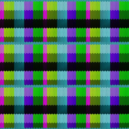 Background with a knitted texture, imitation of wool. Multicolored diverse squares.