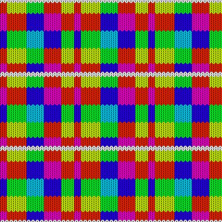 Seamless background with a knitted texture, imitation of wool. Multicolored diverse squares.