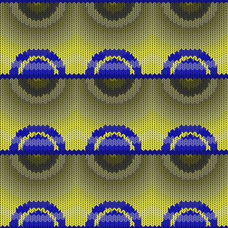 Seamless background with a knitted texture, imitation of wool. Multicolored various circles.