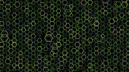 Abstract background pattern with a variety of hexagons. Multicolored background.