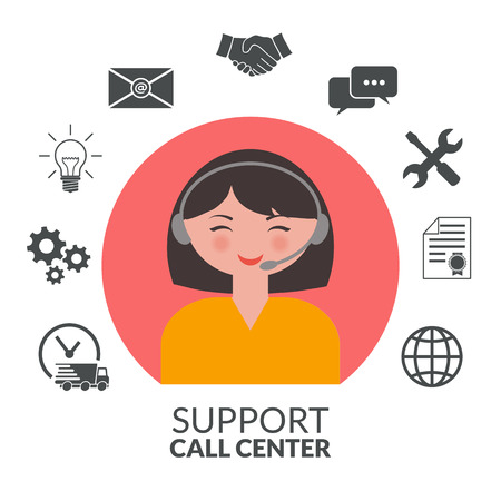 Technical support woman operator Illustration