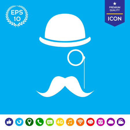 subculture: Abstract hipster silhouette with bowler hat, monocle, mustache - icon