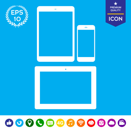 responsive design: Different modern personal gadgets. Tablet, phone - isolated symbol silhouette icon Illustration