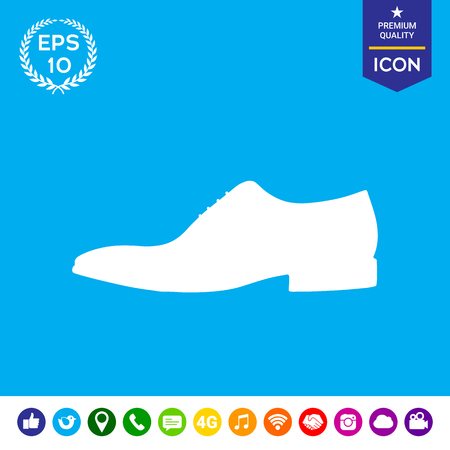 foot gear: Mens shoe icon. Menu item in the web design Illustration