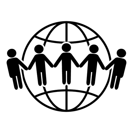 Earth icon. Communication around the world concept. Global community Vettoriali