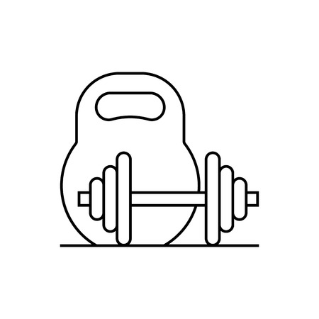 heavy: Kettlebell and barbell line icon vector illustration.