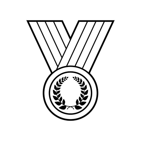 Medal with Laurel wreath, line icon Illustration