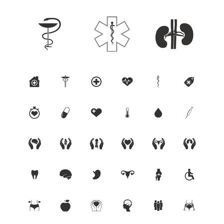 heart monitor: Set of medical symbols vector illustration.