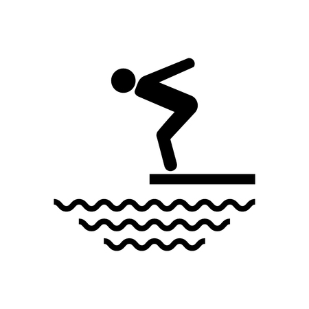 Swimmer on a springboard, Jumping into the water - icon