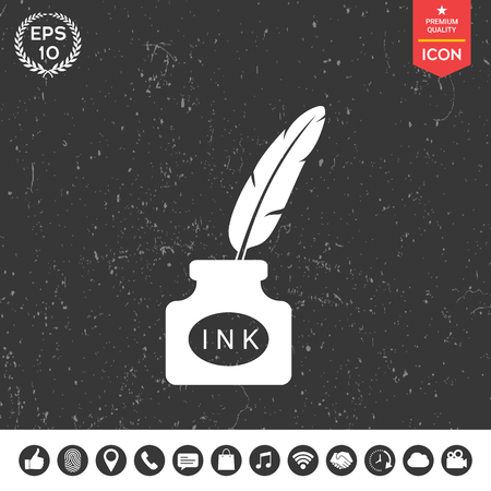 Ink bottle with feather - icon Stok Fotoğraf - 84583057