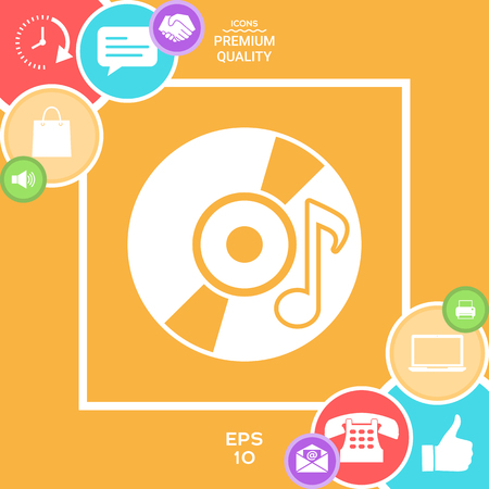 CD, DVD with music symbol icon Illustration