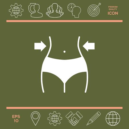 Femme taille, perte de poids, alimentation, taille icone Vecteurs