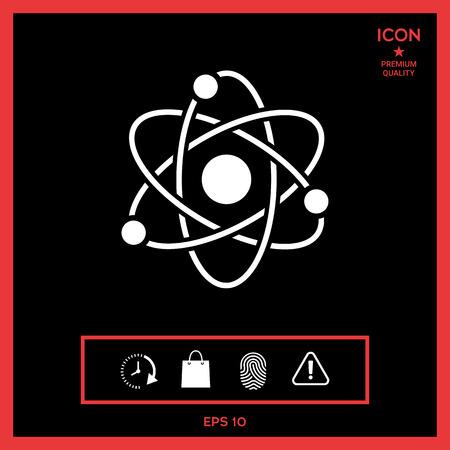 heavy metal: Atom symbol - science icon vector illustration on black background.
