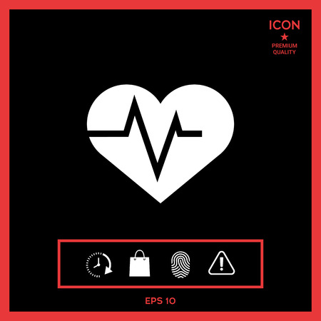 heart monitor: Heart with ECG wave - cardiogram symbol. Medical icon