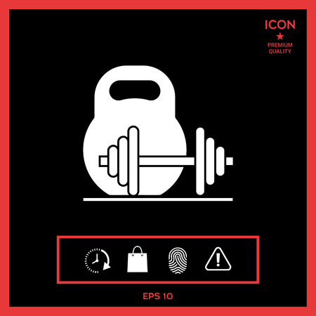 heavy metal: Kettlebell and barbell icon