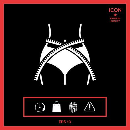 Women waist with measuring tape, weight loss, diet, waistline - icon 向量圖像