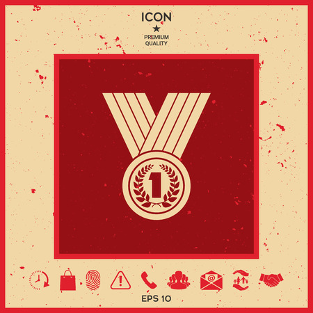 Medal with Laurel wreath. Icon