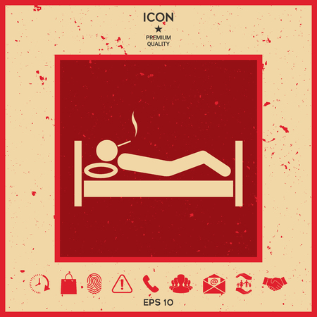 Smoking in bed icon vector illustration. Illustration