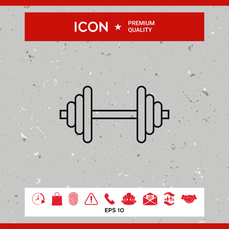 Barbell line icon Stock Vector - 85417423