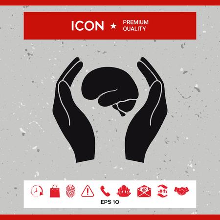 Ręce trzymające mózg - ikona ochrony