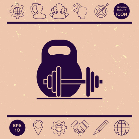 sports equipment: Kettlebell and barbell icon
