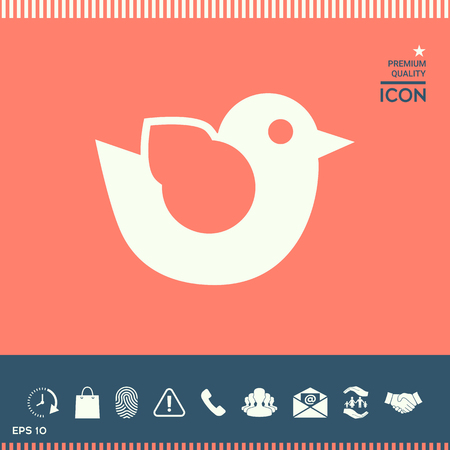Bird icon in abstract design illustration isolated on colored background with bonus symbol underneath