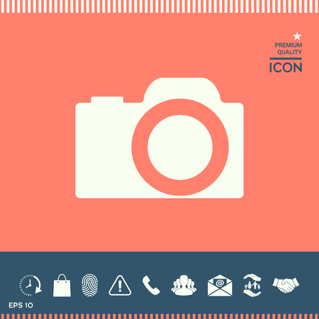 brushed: Camera icon in white silhouette drawing, isolated on pink background