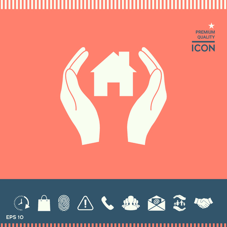 small business: Hands holding home vector illustration.
