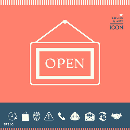 unblock: Information plate with Open sign, board hanging icon