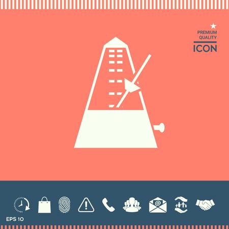 Metronome icon on plain background. Illustration
