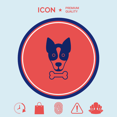Dog with bone- logo, symbol, protect sign, icon. Meals for pet Illustration