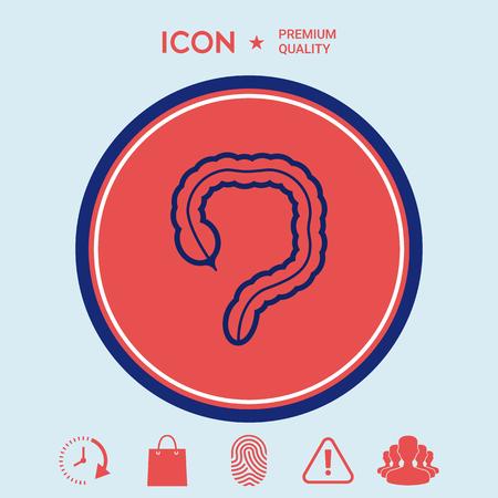 Human organ - the large intestine icon Stock Vector - 86731757