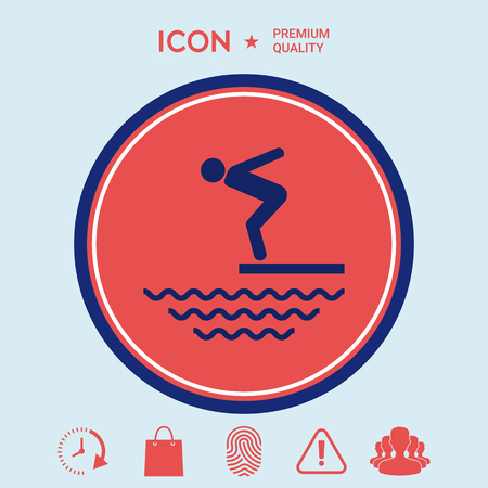 diving platform: Swimmer on a springboard, Jumping into the water - icon