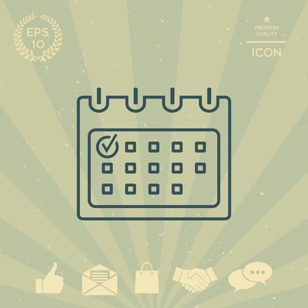 paper note: Calendar with Check mark- line icon