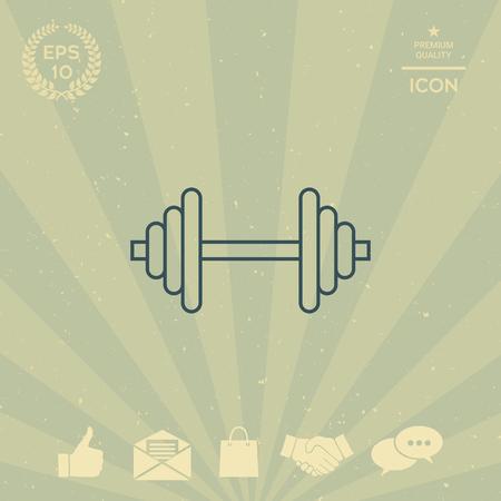 fitness equipment: Barbell line icon Illustration